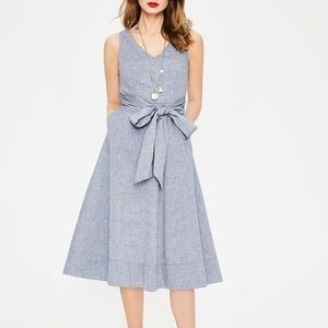 Boden Jade Chambray Fit & Flare Midi Dress